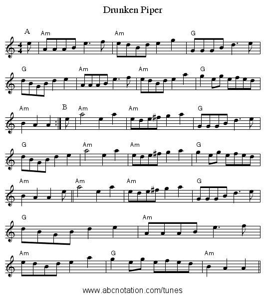Drunken Piper - staff notation