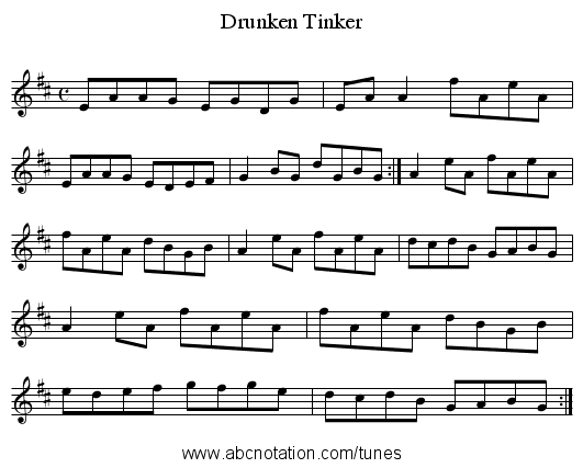 Drunken Tinker - staff notation