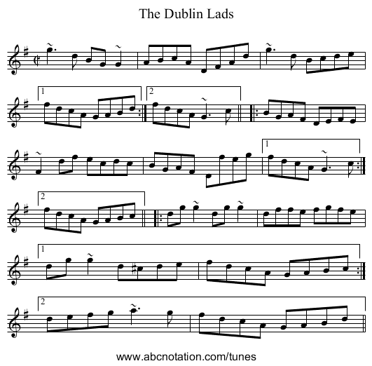 Dublin Lads, The - staff notation
