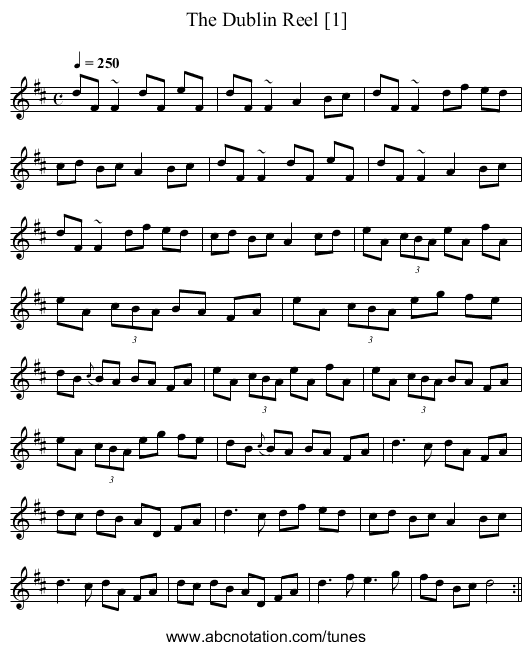 Dublin Reel [1], The - staff notation