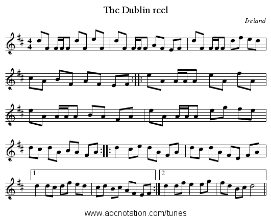 Dublin reel, The - staff notation