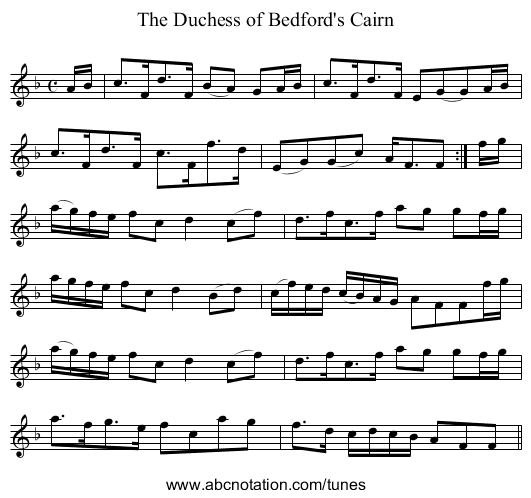 Duchess of Bedford's Cairn, The - staff notation
