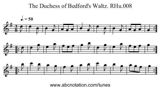 Duchess of Bedford's Waltz,The. RHu.008 - staff notation