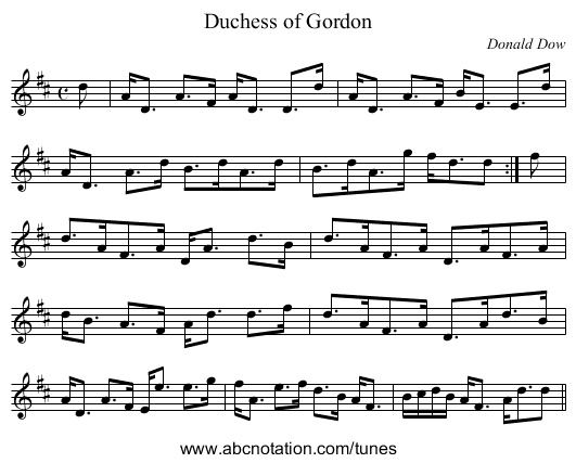 Duchess of Gordon - staff notation