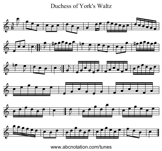 Duchess of York's Waltz - staff notation