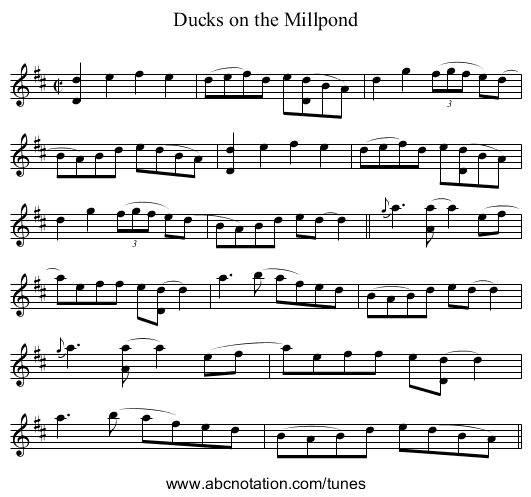 Ducks on the Millpond - staff notation