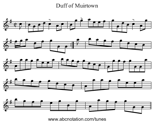 Duff of Muirtown - staff notation