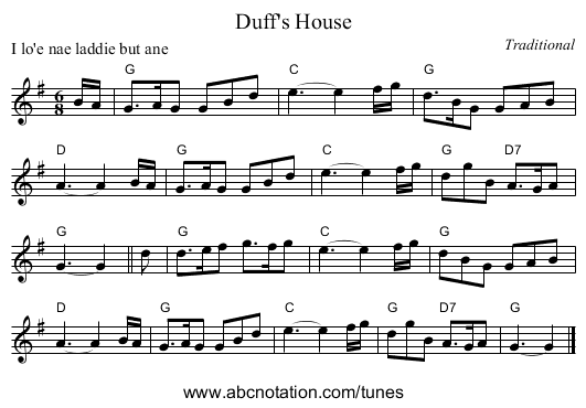 Duff's House - staff notation