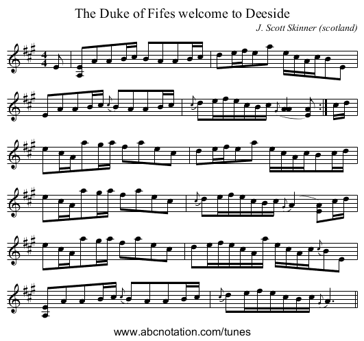 Duke of Fifes welcome to Deeside, The - staff notation