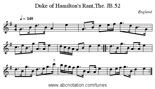 Duke of Hamilton's Rant,The. JB.52 - staff notation