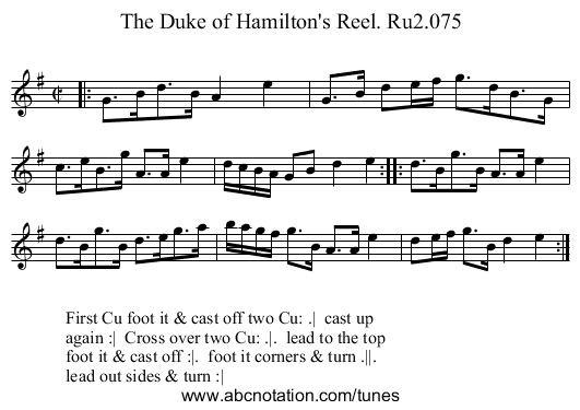 Duke of Hamilton's Reel. Ru2.075, The - staff notation