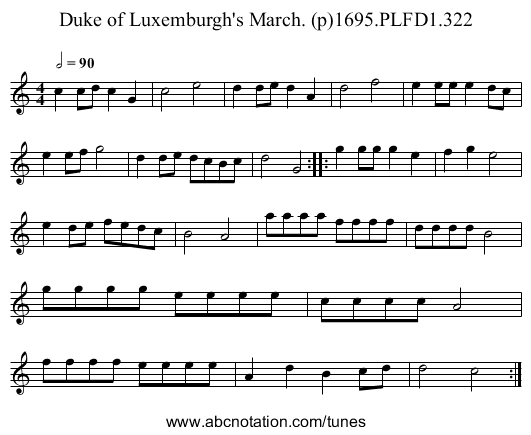 Duke of Luxemburgh's March. (p)1695.PLFD1.322 - staff notation
