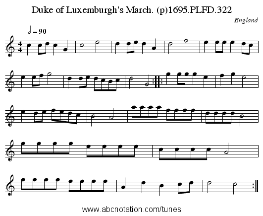 Duke of Luxemburgh's March. (p)1695.PLFD.322 - staff notation