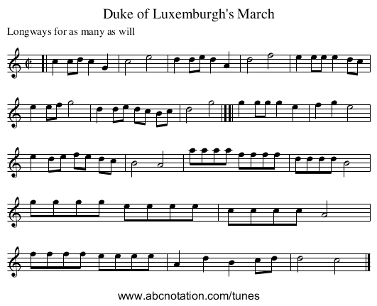 Duke of Luxemburgh's March - staff notation