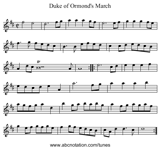 Duke of Ormond's March - staff notation