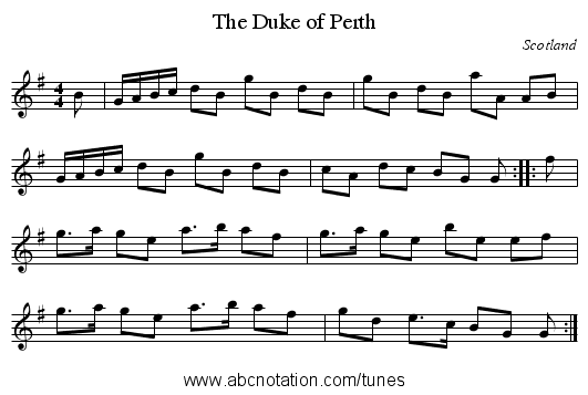 Duke of Perth, The - staff notation