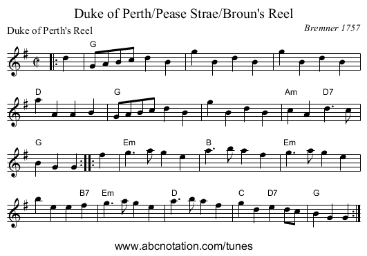 Duke of Perth/Pease Strae/Broun's Reel - staff notation