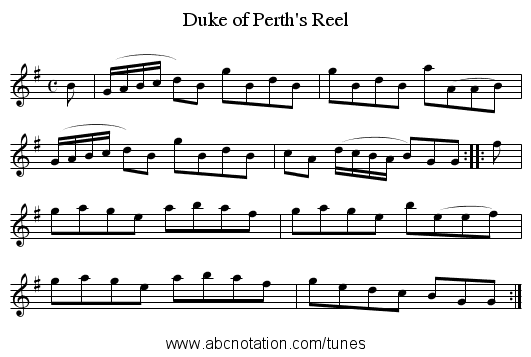 Duke of Perth's Reel - staff notation