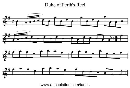 Duke of Perth's Reell - staff notation