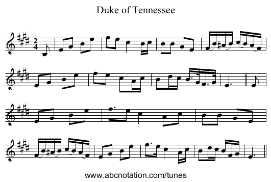 Duke of Tennessee - staff notation