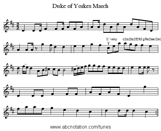 Duke of Yorkes March - staff notation