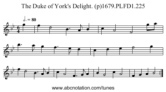 Duke of York's Delight. (p)1679.PLFD1.225, The - staff notation