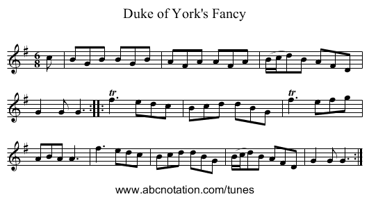 Duke of York's Fancy - staff notation