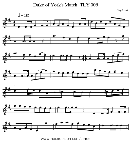 Duke of York's March. TLY.003 - staff notation
