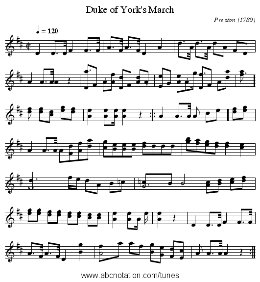 Duke of York's March - staff notation