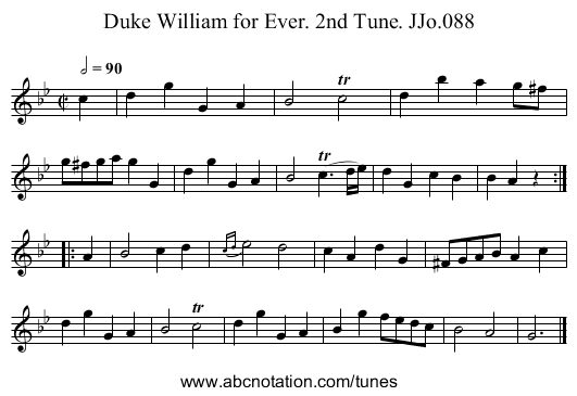 Duke William for Ever. 2nd Tune. JJo.088 - staff notation