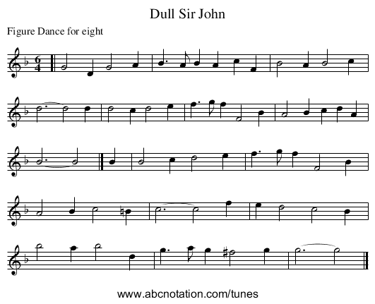 Dull Sir John - staff notation