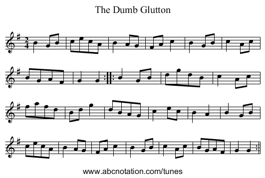 Dumb Glutton, The - staff notation