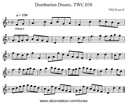 Dumbarton Drums. TWC.038 - staff notation