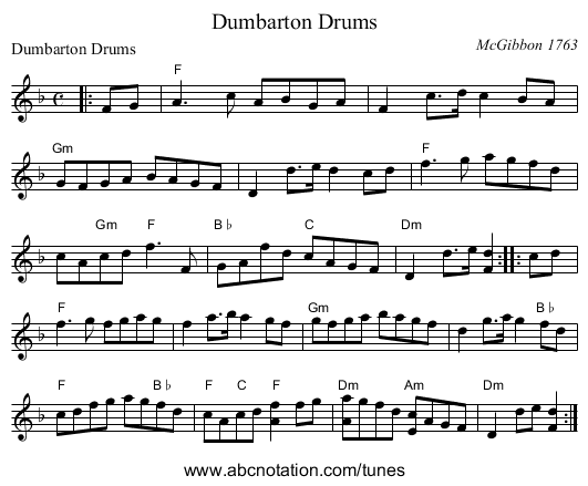 Dumbarton Drums - staff notation