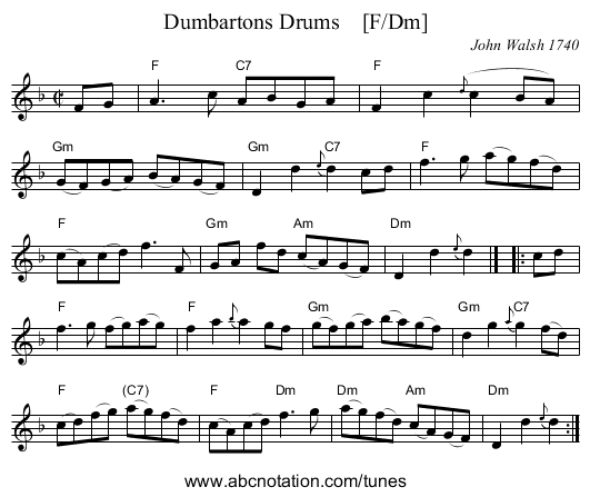 Dumbartons Drums    [F/Dm] - staff notation