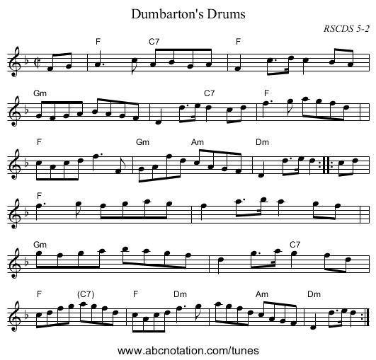 Dumbarton's Drums - staff notation
