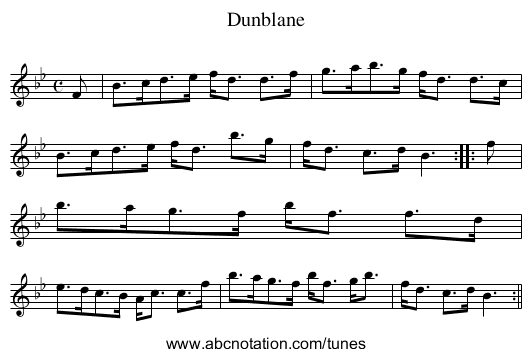 Dunblane - staff notation