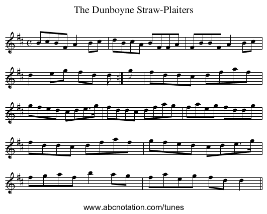Dunboyne Straw-Plaiters, The - staff notation
