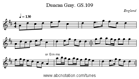 Duncan Gray. GS.109 - staff notation