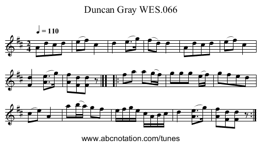 Duncan Gray WES.066 - staff notation
