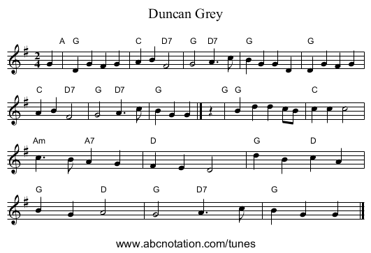 Duncan Grey - staff notation