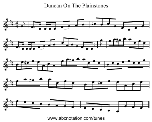 Duncan On The Plainstones - staff notation