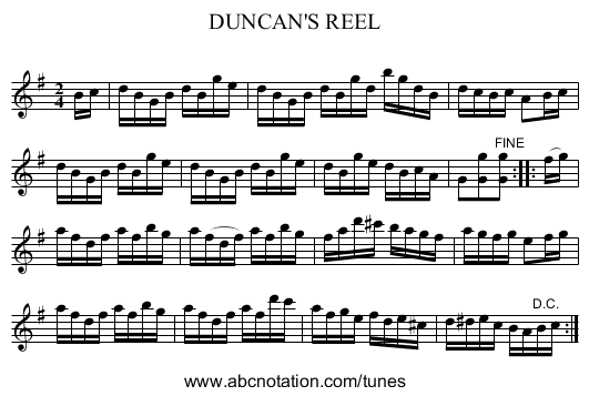 DUNCAN'S REEL - staff notation