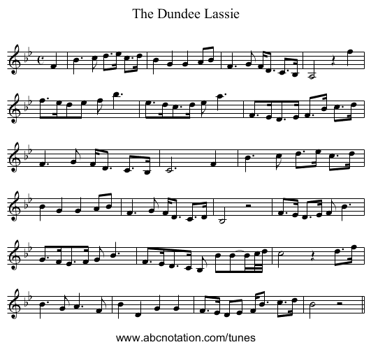 Dundee Lassie, The - staff notation