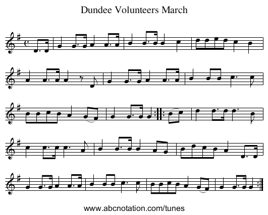 Dundee Volunteers March - staff notation