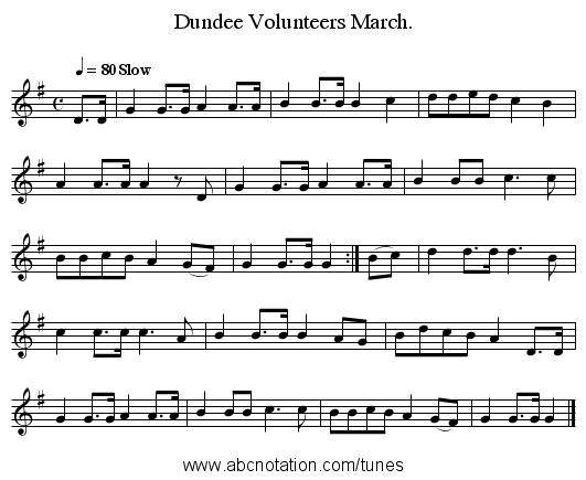 Dundee Volunteers March. - staff notation