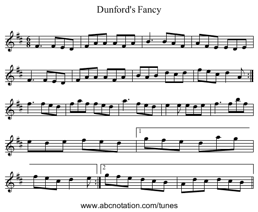 Dunford's Fancy - staff notation