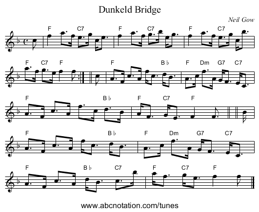 Dunkeld Bridge - staff notation