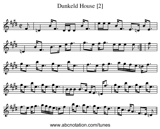 Dunkeld House [2] - staff notation