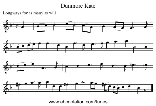 Dunmore Kate - staff notation